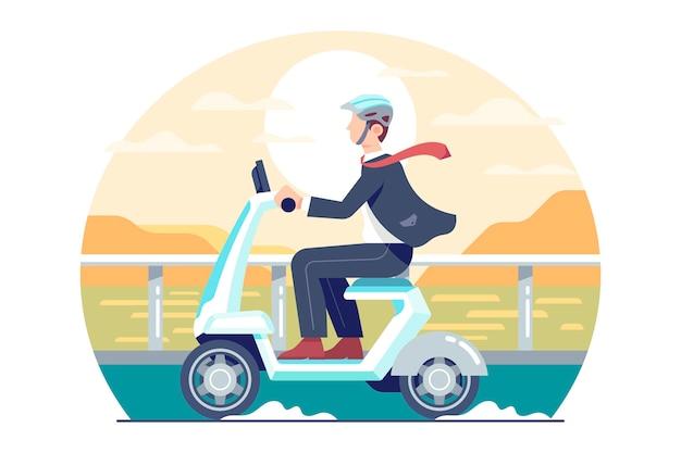 Jonge man een scooter rijden