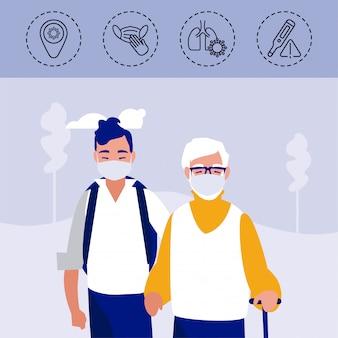 Jonge man en oude man met iconen van coronavirus bescherming en symptomen