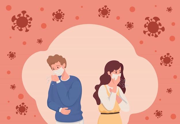 Jonge man en vrouw besmet met coronavirus vlakke afbeelding. mensen met medische gezichtsmaskers hebben een hoest, omringd door covid-19-cellen. zieke personen die verkouden zijn.