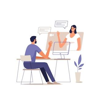 Jonge man en vrouw communiceren online met behulp van mobiele apparaten.