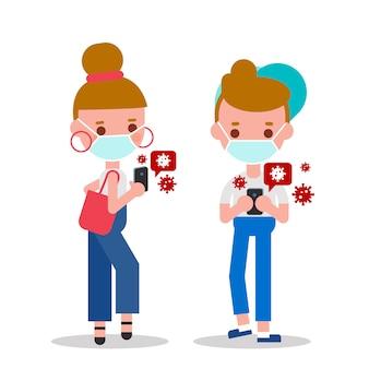 Jonge man en vrouw die hun smartphone controleren op nieuws over de pandemie van het covid-19-virus. platte ontwerpstijl stripfiguren.