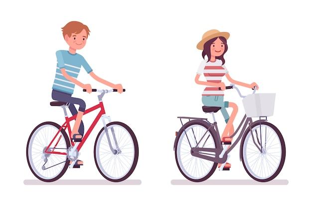 Jonge man en vrouw fietsen een fiets