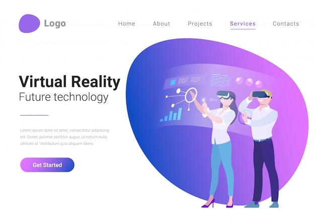 Jonge man en vrouw in vr-helm die holografische vertoning met bedrijfsgegevensgrafieken werken