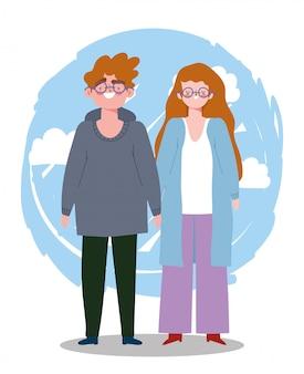 Jonge man en vrouw met bril samen tekens cartoon afbeelding