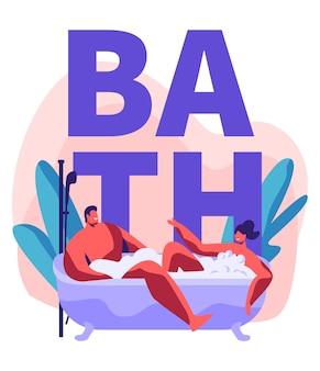 Jonge man en vrouw nemen bubbelbad vol schuim. romantische date in de badkamer van het wellnesshotel