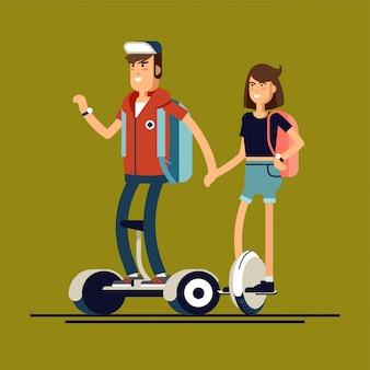 Jonge man en vrouw op elektrische scooter mono wiel