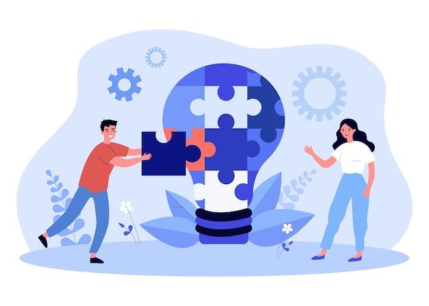 Jonge man en vrouw puzzel samenstellen in gloeilamp. platte vectorillustratie. creatieve mensen die aan een gemeenschappelijk idee werken, aan een project werken en het implementeren. teamwork, project, business, creativiteit concept