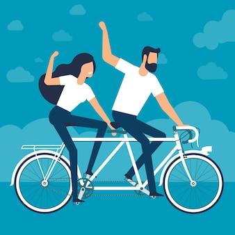 Jonge man en vrouw rijden op een fiets achter elkaar platte verctor ontwerpsjabloon