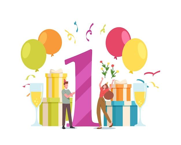Jonge man en vrouw verjaardag partij viering. verliefde paar mannelijke en vrouwelijke personages vieren een jaar samen met confetti, cadeaus en cadeautjes in de buurt. cartoon mensen vectorillustratie