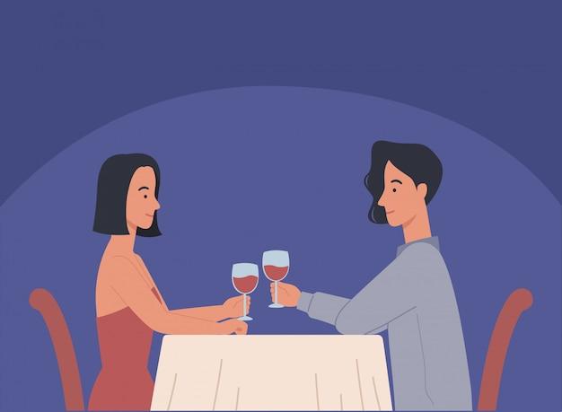 Jonge man en vrouw, verliefde paar met diner, ontmoeting van twee naaste liefdevolle mensen in romantische relaties in café. illustratie in een vlakke stijl