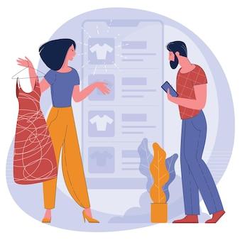Jonge man en vrouw winkelen online met behulp van de mobiele app