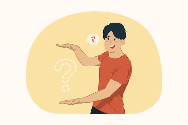 Jonge man gebaren demonstrerende grootte met verticaal werkruimteconcept