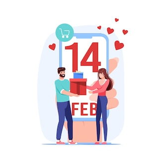 Jonge man geeft liefde cadeau aan vrouw voor valentijnsdag
