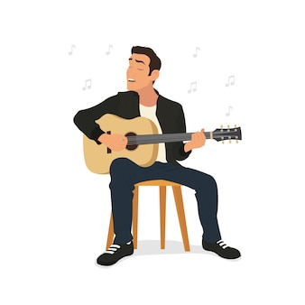 Jonge man gitaar spelen en zingt een lied.
