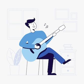 Jonge man gitaarspelen in woonkamer.