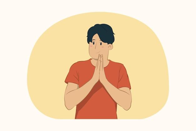 Jonge man hand in hand gevouwen bidden concept
