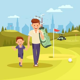 Jonge man hand in hand met zoon gaan spelen golf.