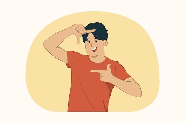 Jonge man handen fotolijst gebaar maken