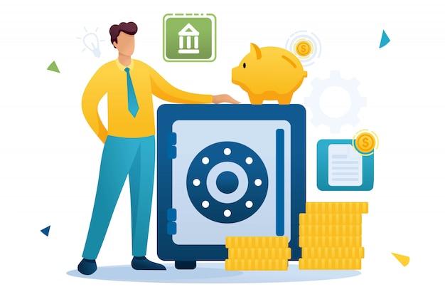 Jonge man houdt geld in de bank, houdt geld in een bankdeposito. vlak karakter. concept voor webdesign