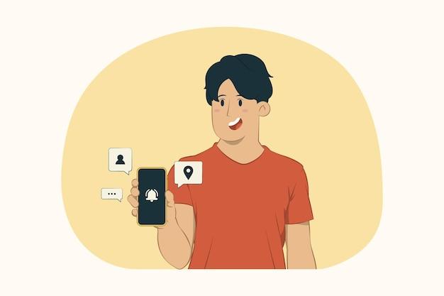 Jonge man houdt het concept van de mobiele mobiele telefoon