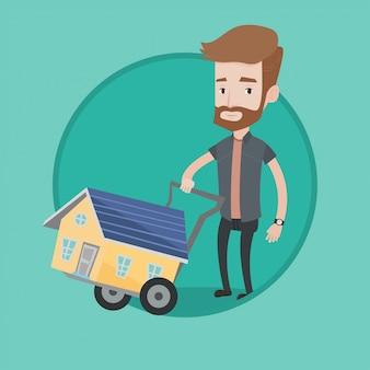 Jonge man huis vectorillustratie kopen.
