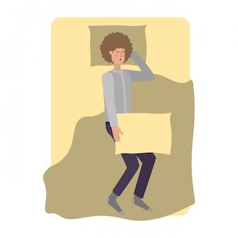 Jonge man in bed avatar karakter