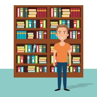 Jonge man in de scène van het bibliotheekkarakter