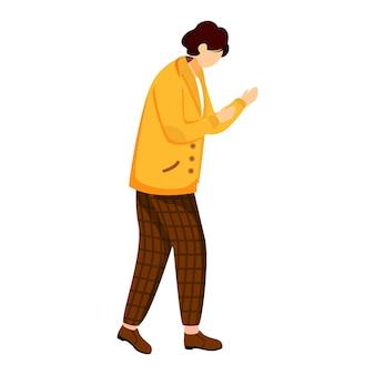 Jonge man in gele jas vlakke afbeelding. staande in defensieve positie. terloops geklede persoon. universiteitsstudent. jongen vechten geïsoleerd stripfiguur op witte achtergrond