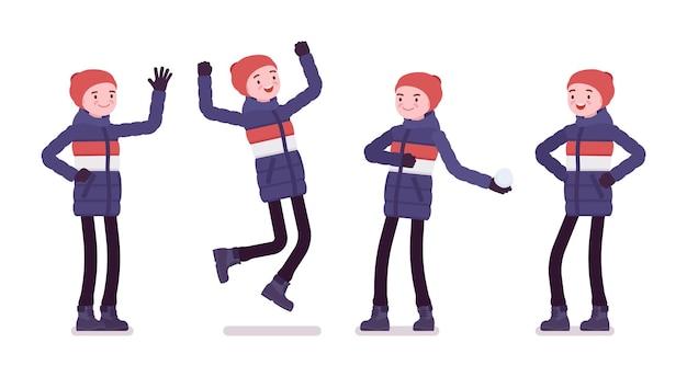 Jonge man in gestreepte donsjack, positieve emoties, zachte warme winterkleren dragen