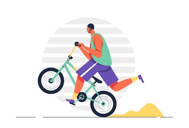Jonge man in helm fietst op een fiets. sportieve activiteit. atleet rijdt op een fiets in stripfiguurillustratie