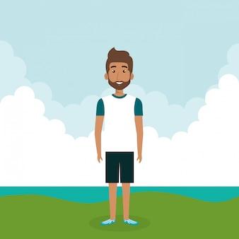 Jonge man in het landschap karakter scene