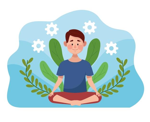 Jonge man in lotushouding met bladeren scène en versnellingen