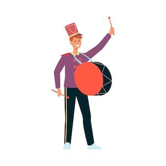 Jonge man in parade kostuum met trommel in stijl.
