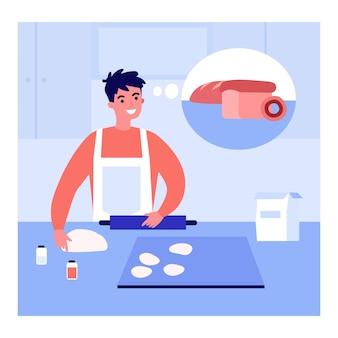 Jonge man in schort deeg maken voor brood in de keuken thuis. mannelijke karakter denken van gebakken brood en donut platte vectorillustratie. bakken, voedselconcept voor banner, website-ontwerp of bestemmingspagina