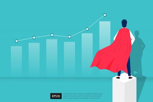 Jonge man in superheldenkostuum dat het ontwerp van macht en moed in zaken vertegenwoordigt.