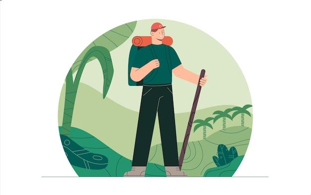 Jonge man in wandelen kleding en rugzak staande op natuur achtergrond jungle bossen natuurlijke landschap