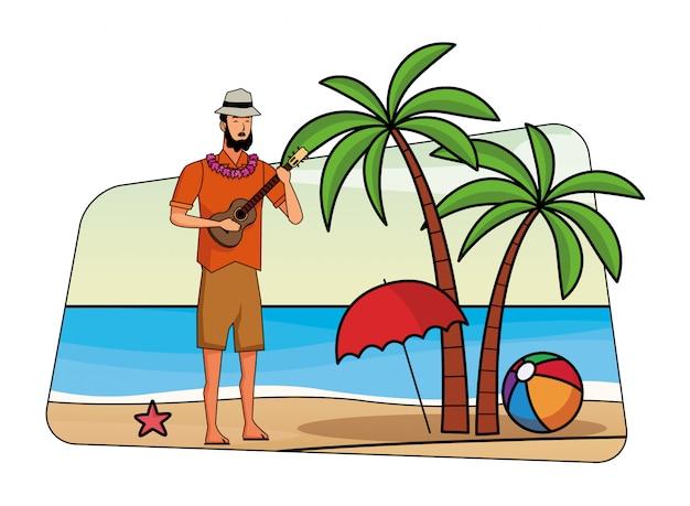 Jonge man in zomertijd cartoon