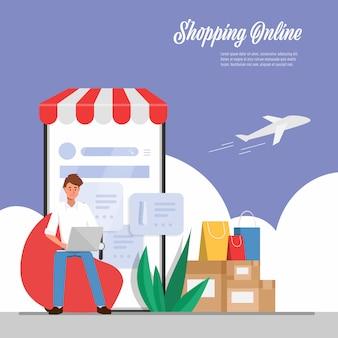 Jonge man is online winkelen en bezorgservice.