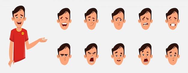 Jonge man karakter met verschillende gezichtsemoties en lip sync. teken voor aangepaste animatie.