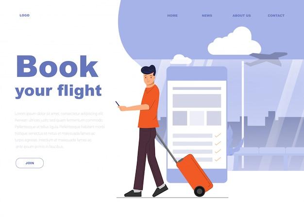 Jonge man karakter om te reizen op de luchthaven.