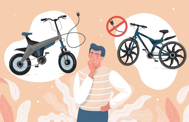 Jonge man kiezen tussen elektrische en niet-elektrische fietsen vlakke afbeelding.