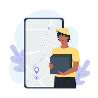 Jonge man koerier met een pakket in zijn handen, levering van goederen uit de online winkel