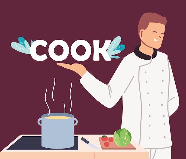 Jonge man kok met fornuis en ingrediënten afbeelding ontwerp