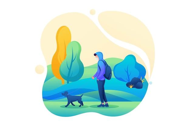 Jonge man loopt met een hond met een masker op zijn gezicht tijdens een epidemie. platte 2d karakter. concept voor webdesign.