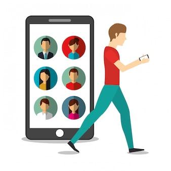 Jonge man lopen met mobiel in handen en mensen van de smartphone