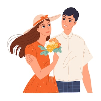Jonge man maakt een meisje het hof, gaf haar een boeket bloemen.