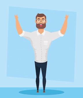 Jonge man met baard avatar karakter vector illustratie ontwerp