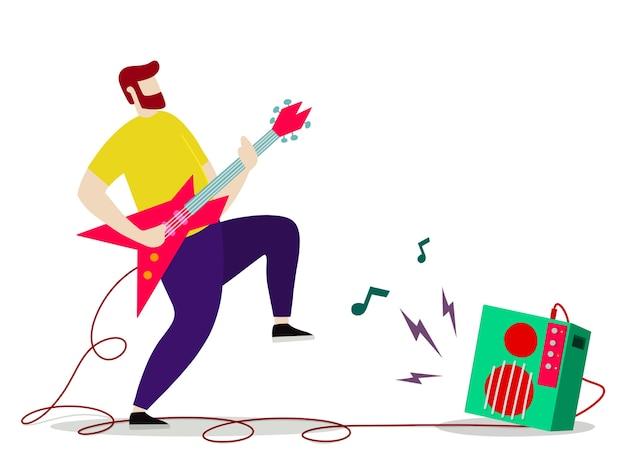 Jonge man met baard elektrische gitaar spelen