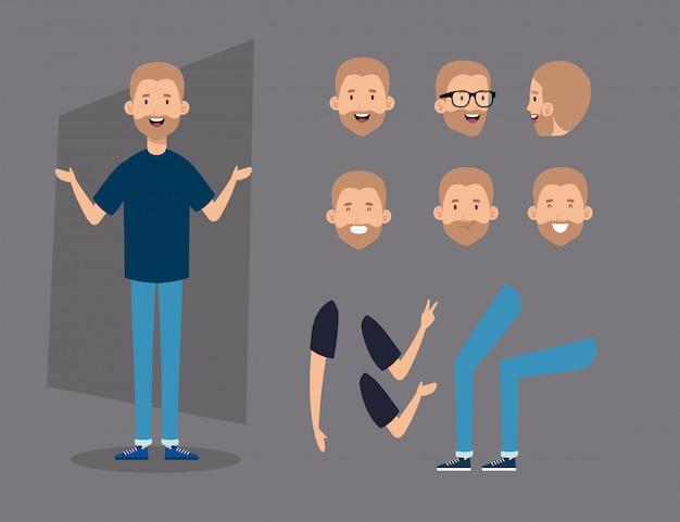 Jonge man met baard en lichaamsdelen tekens