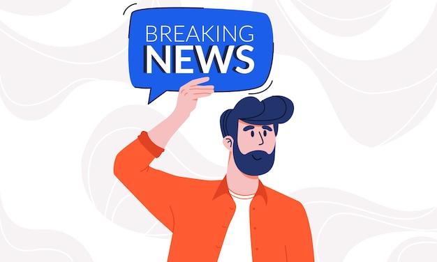 Jonge man met baard in casual shirt met breaking news tekstballon onder zijn hoofd. kerel die de aandacht vestigt op nieuwe informatiefeiten met notificatie tipplaat. actueel en bewust zijn.